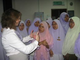 Photo of Sue Polanka meeting with Malysian women.