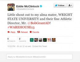 Screen capture of Eddie McClintock's twitter message to Wright State Raiders
