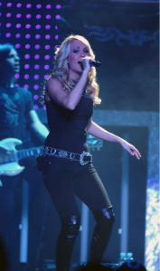 Photo of Carrie Underwood perfoming at the Wright State University Nutter Center.