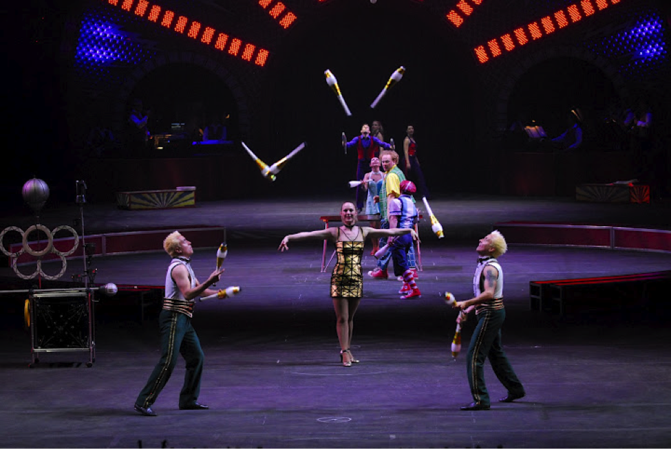 Photo of a trapeze act at the Ringling Brothers Circus performance at the Wright State University Nutter Center.