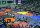 Photo of a wrestling tournament at the Wright State Nutter Center.