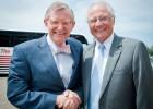 Photo of Ohio State University President Gordon Gee and Wright State President David R. Hopkins.