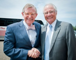 Photo of Ohio State University President Gordon Gee and Wright State President David R. Hopkins.