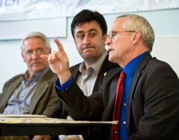Photo of Stephen Foster (right), Wright State's Associate Vice President for International Affairs, makes a point during the news conference. Dayton Mayor Gary Leitzell (left) and Islom Shakhbandarov, (center) President of the Ahiska Turkish American Community Center, look on.