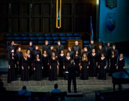 Photo of the Collegiate Chorale performing at the World Choir Games.