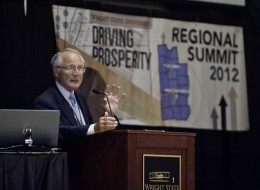 Photo of Wright State President David R. Hopkins at the sixth annual Regional Summit