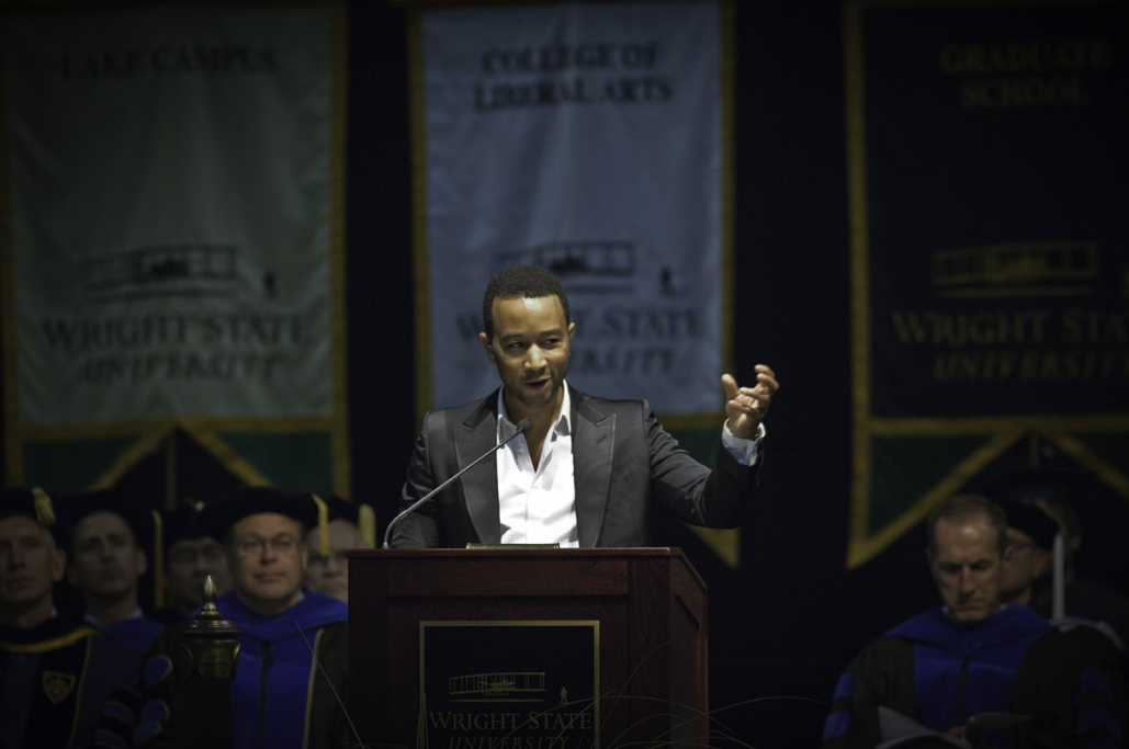 Photo of John Legend speaking at Wright State's Freshman Convocation 2012.