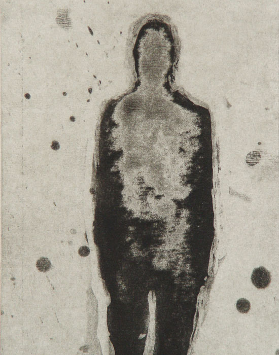 Painting of the outline of a person in black