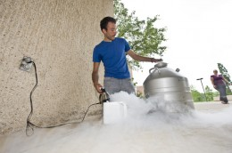Photo of Wright State student Jason Baldwin and his liquid nitrogen ice cream maker