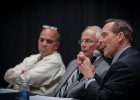 Photo of Chancellor Jim Petro speaking during a commercialization session at Wright State. To his right are Wright State President David R. Hopkins and Vinny Gupta, member of the Ohio Board of Regents and chair of the Ohio Commercialization Task Force.