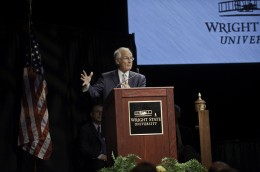 Photo of President Hopkins speaking at Convocation 2012