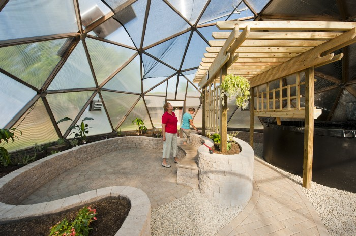 Photo of the inside of Mini University at Wright State University's new learning space-a geodesic greenhouse.