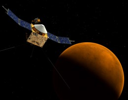 Concept illustration of the MAVEN spacecraft near Mars