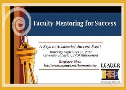 Graphic for Faculty Mentoring For Success LEADER Consortium event
