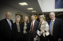 (L-R) Wright State President David R. Hopkins, Mary Bess Mulhollan, Angelia Hopkins, Paige Mulhollan Jr., Brenda Rinzler and Allan Rinzler pose for a picture before the memorial service for Paige E. Mulhollan