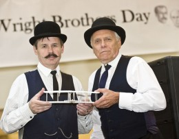 Photo of Roger Storm and Tom Benson of NASA as Orville and Wilbur Wright
