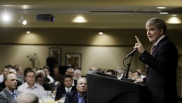 Photo of NCAA President Mark Emmert at the Wright State basketball Tip-off Luncheon.