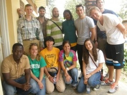 Photo of Dr. Sylvia Gleason (yellow shirt) and the students and professor who traveled with her to help.
