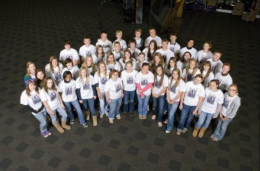 Group shot of dozens of high school students from the 2010 Immersion Day.
