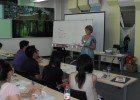 Jeannette Horwitz, director of the LEAP Program leads a discussion in a classroom at the Dalian University of Technology in China.