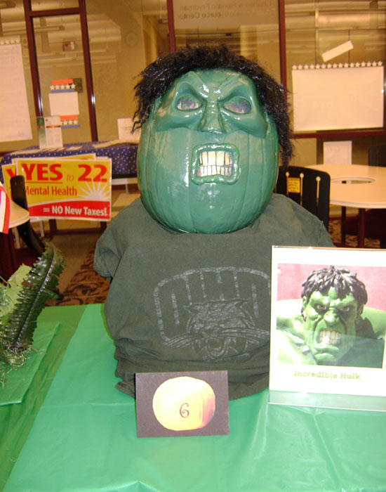 Photo of a pumpkin dressed as the Hulk