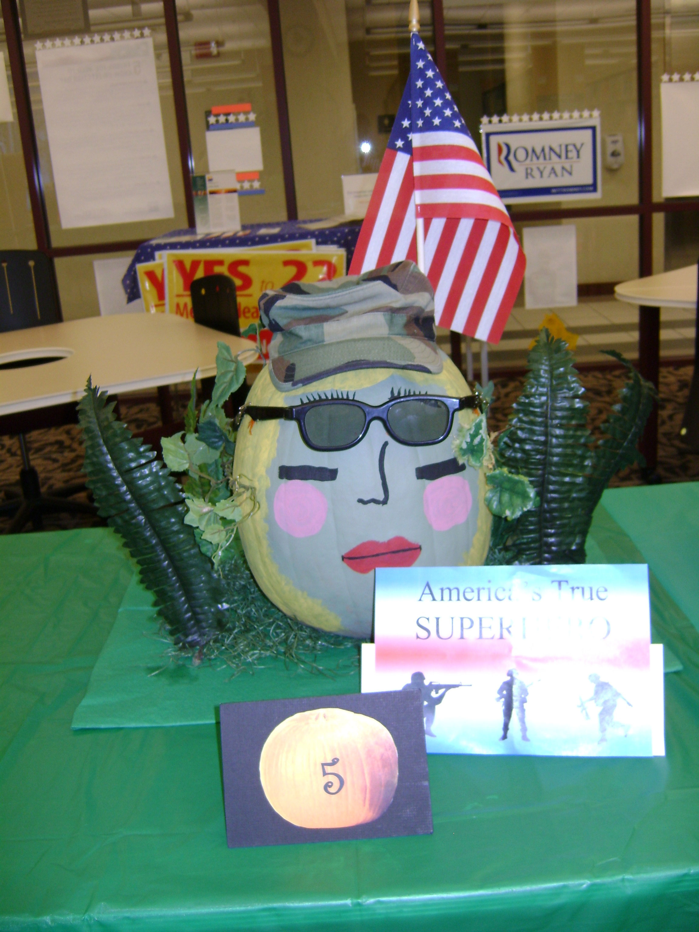 Photo of a pumpkin dressed as a member of the military