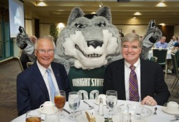 Photo of Wright State University President David R. Hopkins, Wright State mascot Rowdy and NCAA President Marl Emmert.