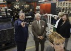 Wright State President David R. Hopkins toured the Setex Inc. automotive parts plant in St. Marys. The plant makes car seats for Honda.