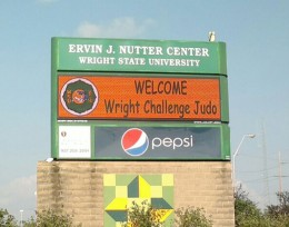 Photo of the Wright State Universirty Nutter Center marquee advertisiing a Wright Challenge judo tournament.