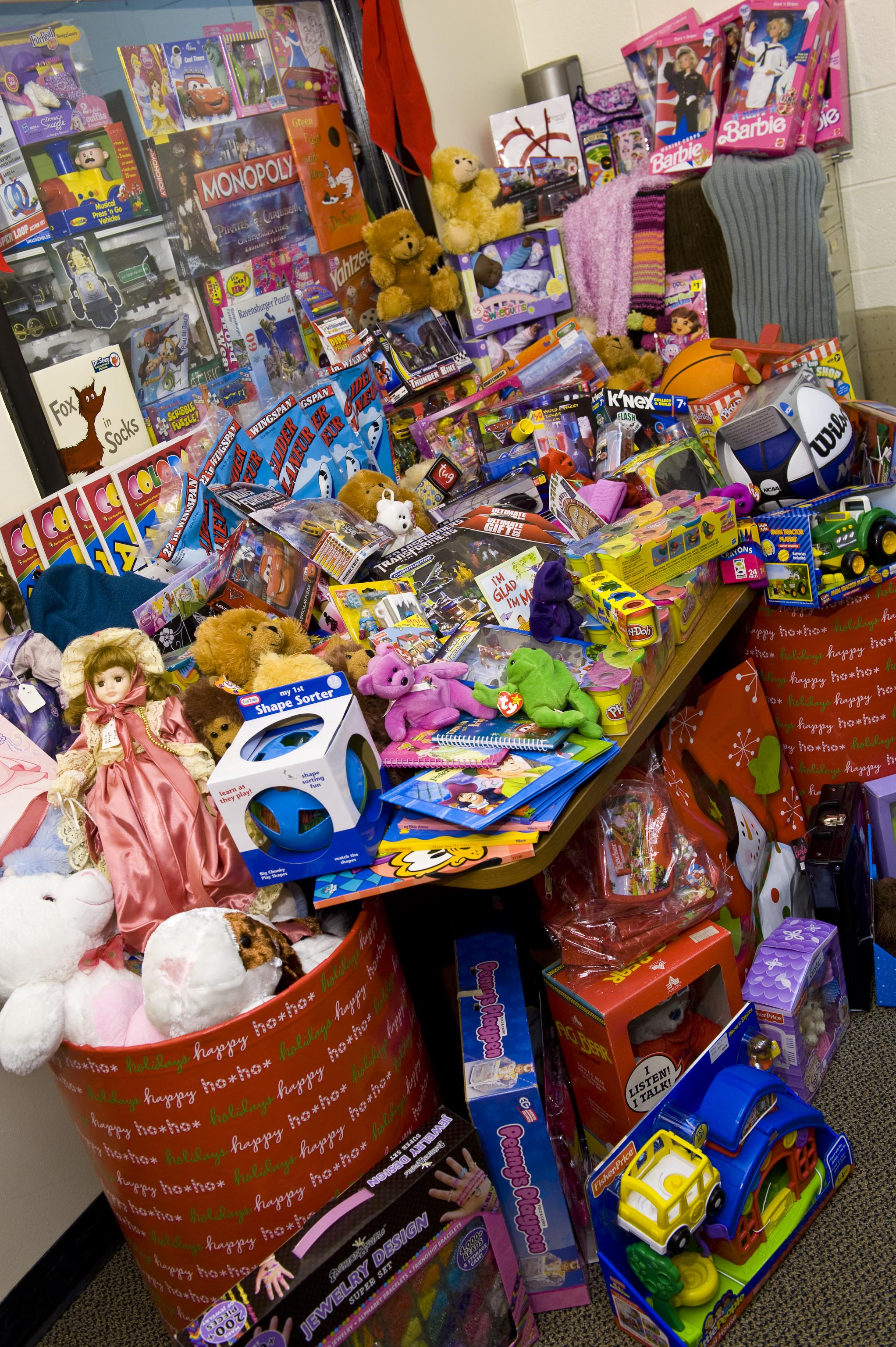 Photo of toy donations for the Christmas for Kids toy drive at Wright State.