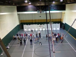 Photo of a view from above at a Wright Challenge archery tournament.