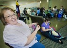 Photo of Kim Owens and other members of the Wright State Knitting Circle.