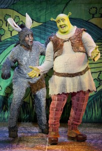"Photo of Wright State University alum Jeremy Gaston in costume as ""The Donkey"" in Shrek The Musical."
