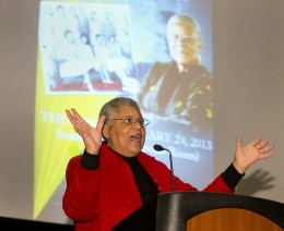 Photo of Minnijean Brown Trickey speaking at Wright State.