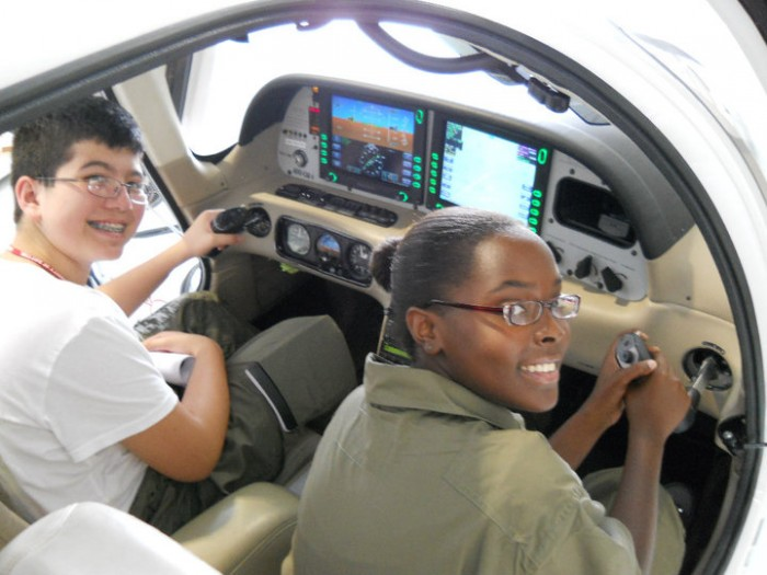 Air Camp students get a hands-on introduction to flight at Air Camp.