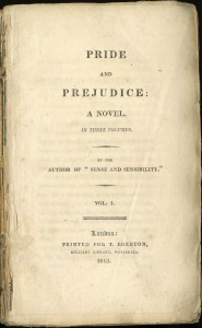 An image of the title page from Pride and Prejudice, first published in 1813.