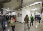 Students, faculty and staff walking in the Wright State tunnel system