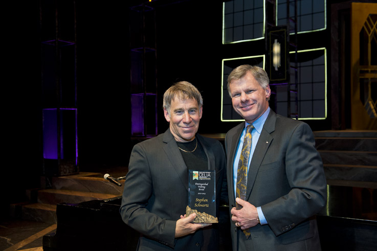 Hank Dahlman, professor of music, director of choral studies and founding director of CELIA, Wright State's Center of Excellence for Collaborative Education, Leadership and Innovation in the Arts, presented Stephen Schwartz with the first Distinguished Visiting Artist award.