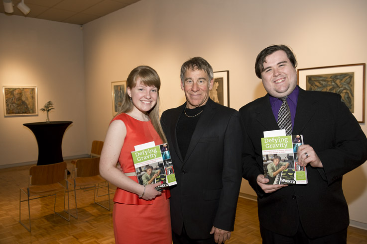 Stephen Schwartz Musical Theatre Scholarship winners Carly Snider, a student at Centerville High School, and Andrew Quiett, a Wright State student, with Stephen Schwartz.