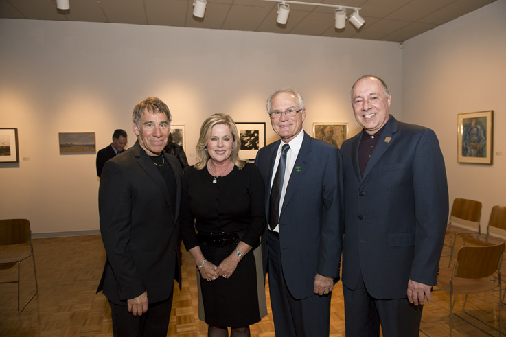 (L to R): Stephen Schwartz, Angelia Hopkins, Wright State President David R. Hopkins and Kevin Moore of the Human Race Theatre at a reception following the Stephen Schwartz & Friends performance March 19.
