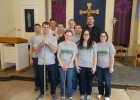 The Wright State Finance Club poses for a picture inside St. Virgilius Church.