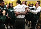 Wright State players celebrate their 56-54 semi-final win over Detroit  in the Horizon League Basketball Men&#039;s Championship at Valparaiso University on Saturday, March 9, 2013.