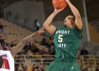 Wright State player Miles Dixon shoots against Detroit player Jason Calliste in Wright State&#039;s 56-54 semi-final win in the Horizon League Basketball Men&#039;s Championship at Valparaiso University on Saturday, March 9, 2013.