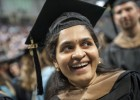Srilatha Pasupuleti smiles as she celebrates getting her MBA.