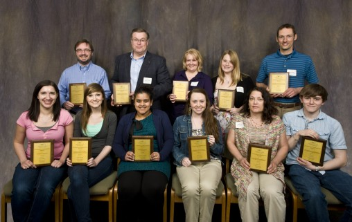 "(L-R) Back row: Jason Deibel, Ph.D., Dan Krane, Ph.D., Penny Sobocinski, Leah Miller, Devon Berry, Ph.D. Front row: Alyxis Camden, Ashley Marshall, Urmimala ""Urmi"" Chaudhuri, Karli Lightner, Mary Chace, Alex Oxner"