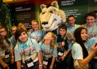 Rowdy Raider greeting Science Olympiad participants at the Wright State Expo at the Nutter Center May 17.