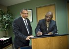 IDSE executive director Vikram Sethi (left) and African Leadership Institute founder Iyorwuese Hagher signed an agreement last September that led the way to the upcoming leadership training program.