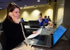 Current students are working the phones in the new Wright State Call Center. They're trying to make a personal connection with admitted high school students now, so they will choose Wright State.