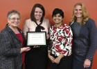 (L-R) Cathy Sayer, director of Service-Learning; Danielle Baker; Shreya Bhandari, Ph.d., Baker's faculty advisor; and Ginger Goubeaux, Daybreak social worker.