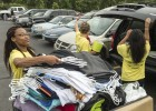 Moving stuff from cars to dorms can be a daunting task. Good thing more than 400 volunteers were on hand to help.